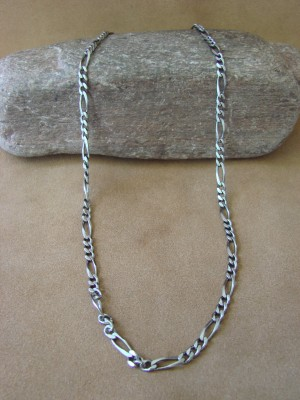 """Southwestern Jewelry Sterling Silver Figaro Chain Necklace 20"""" Long x 3/16"""""""