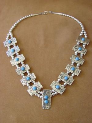 Native American Jewelry Blue Denim Lapis Squash Blossom Necklace by Phoebe Tolta