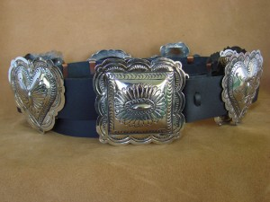 Native American Jewelry Hand Stamped Nickel Silver Concho Belt Carson Blackgoat BLT097