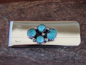 Navajo Indian Jewelry Turquoise Cluster Money Clip! Sterling Silver Men's