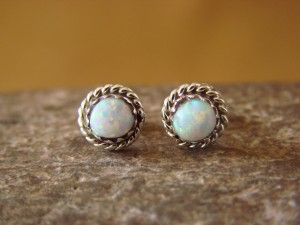 Zuni Indian Handmade Sterling Silver Opal Post Earrings by Stanford Chuyate