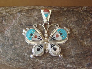 Native American Zuni Sterling Silver Inlay Butterfly Pendant - Lyndon Ahiyite