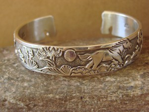 Native American Jewelry Sterling Silver Storyteller Horse Bracelet - Becenti BB0192