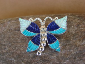 Native American Zuni Sterling Silver Inlay Butterfly Lapis Opal Pin/Pendant - Quam
