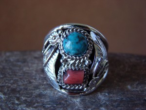 Navajo Jewelry Sterling Silver Turquoise and Coral Men's Ring by Spencer! Size 12 1/2