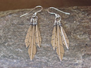 Native American Indian Jewelry Sterling Silver 3 Feather Dangle Earrings - Lorenzo Arviso