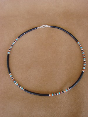 Santo Domingo Indian Hand Strung Turquoise Necklace by Dorene Calabaza