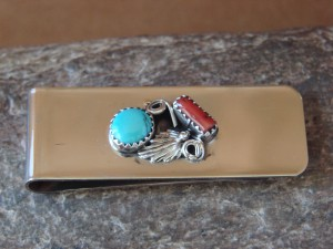 Navajo Indian Jewelry Turquoise Coral Money Clip! Sterling Silver Mens
