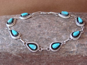 Zuni Indian Jewelry Turquoise Sterling Silver Link Bracelet! Edison Walela