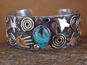 "Navajo Indian Sterling Silver Turquoise 1"" Petroglyph Bracelet by Alex Sanchez!"