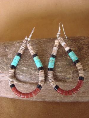 Santo Domingo Hand Beaded Heishi Shell Dangle Earrings by Delbert Crespin