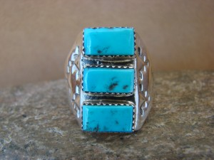 Native American Jewelry Sterling Silver Turquoise Men's Ring Size 13
