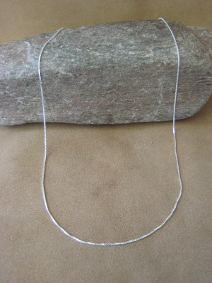 """Southwestern Jewelry Sterling Silver Adjustable Box Chain Necklace 22"""" Long x 1/16"""""""