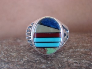Zuni Indian Sterling Silver Turquoise Inlay Ring Size 12 - Bevis Tsadiasi