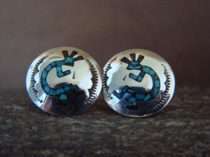 Navajo Indian Jewelry Sterling Silver Chip Inlay Kokopelli Post Earrings by J. Yazzie
