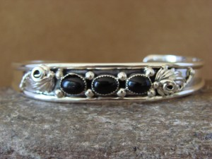 Small Navajo Indian Jewelry Sterling Silver Black Onyx Bracelet by Gilbert Smith