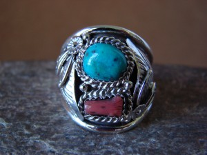 Navajo Jewelry Sterling Silver Turquoise and Coral Men's Ring by Spencer! Size 10 1/2