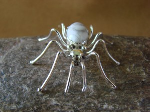Native American Jewelry Sterling Silver White Howlite Spider Pin by Spencer! Jewelry