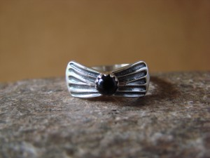 Navajo Indian Jewelry Sterling Silver Onyx Ring - L. Shorty -  Size 8.0