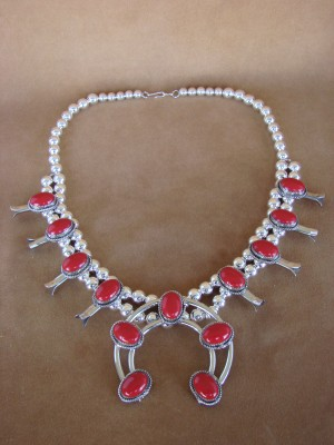 Large Native American Jewelry Coral Squash Blossom Necklace by Cleveland