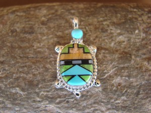 Zuni Indian Sterling Silver Turquoise, Coral Inlay Turtle Pendant! Bailey Gia TT0137