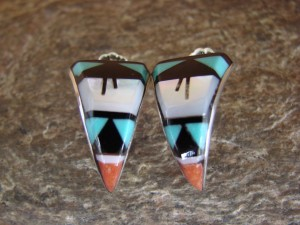 Zuni Indian Jewelry Sterling Silver Turquoise Inlay Post Earrings! By Esalio