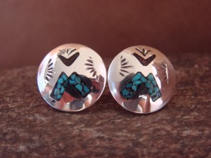 Navajo Indian Jewelry Sterling Silver Chip Inlay Post Earrings by J. Yazzie
