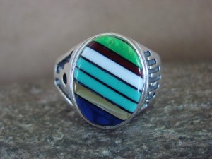 Zuni Indian Sterling Silver Turquoise Inlay Ring Size 13 - Bevis Tsadiasi