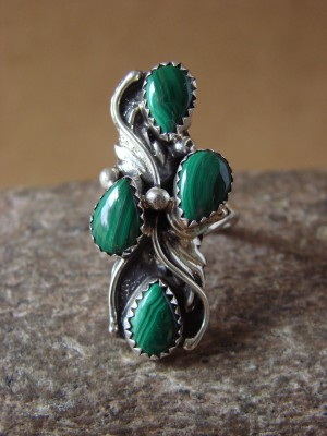 Navajo Indian Jewelry Handmade Sterling Silver Malachite Ring,Size 7.5