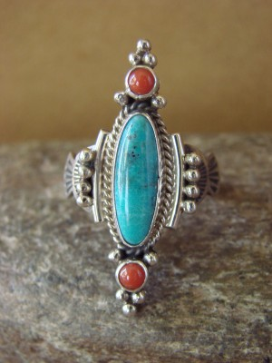 Navajo Indian Sterling Silver Turquoise Coral Ring Michael Calladitto Size 9 1/2