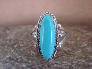 Native American Indian Jewelry Sterling Silver Turquoise Ring, Size 7 1/2 Judy Lincoln