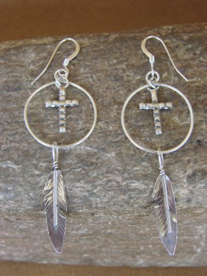 Native American Handmade Sterling Silver Cross Feather Earrings by Arviso