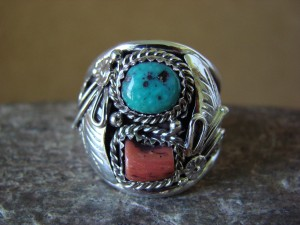 Navajo Jewelry Sterling Silver Turquoise and Coral Men's Ring by Spencer! Size 11