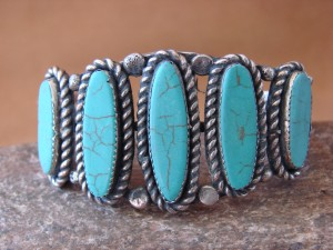 Native American Jewelry Nickel Silver Turquoise Bracelet by Phoebe Tolta