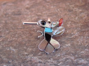 Zuni Indian Sterling Silver Multi-Stone Inlaid Hummingbird Pendant by Allpowa