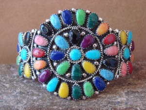 Navajo Indian Jewelry Sterling Silver Gemstone Cluster Bracelet! Juliana Williams