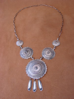Navajo Indian Sterling Silver Hand Stamped Necklace! by Eugene Charley