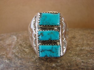 Native American Jewelry Sterling Silver Turquoise Men's Ring Size 14