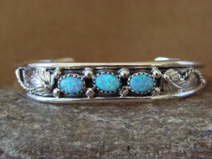 Small Navajo Indian Jewelry Sterling Silver Opal Bracelet by Gilbert Smith