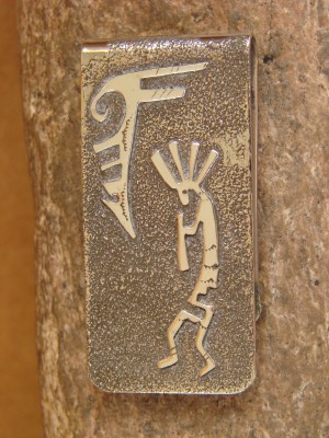 Navajo Indian Jewelry Hand Etched Kokopelli Money Clip! R. Begay