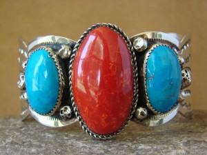 Native American Jewelry Nickel Silver Red Jasper Turquoise Bracelet by Albert Cleveland!
