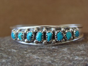Small Navajo Indian Sterling Silver Turquoise Baby Bracelet by Cadman!