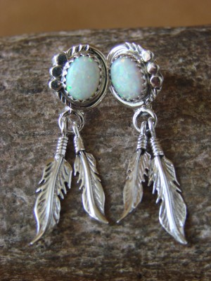 Navajo Indian Jewelry Sterling Silver Opal Feather Earrings - Etta Larry