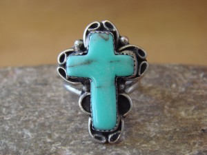 Native American Nickle Silver Turquoise Cross Ring Size 9 1/2, by Phoebe Tolta