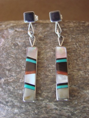 Zuni Indian Sterling Silver Multistone Inlay Dangle Earrings by B. Sanchez