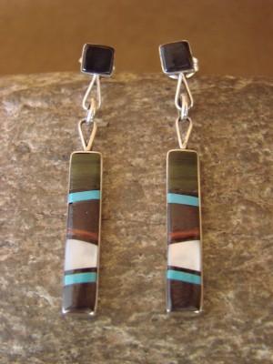 Zuni Indian Sterling Silver Multistone Inlay Dangle Earrings by B. Sanchez