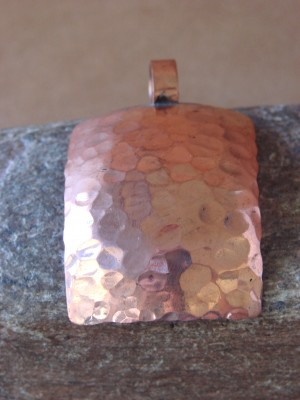 Navajo Indian Jewelry Copper Hammered Pendant! Handmade by Douglas Etsitty