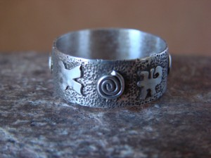 Native American Sterling Silver Stamped Petroglyph Ring by Skeets Size 10 1/2