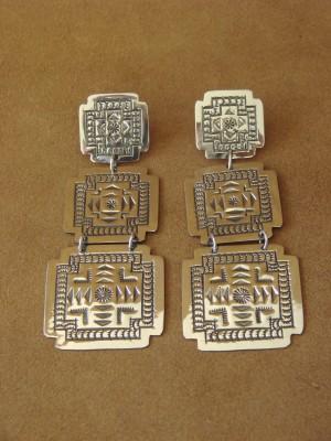 Native American Sterling Silver Hand Stamped Heart Earrings by Harold Joe