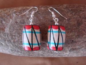 Jemez Indian Pueblo Handmade Clay Drum Earrings by Benny Chinana! Handpainted